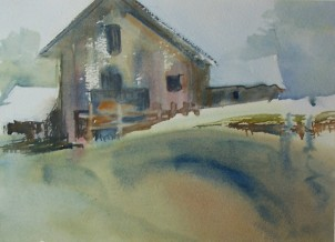 Barn on the Hill, 10x8 in.