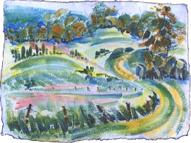Cartright Hillside, 2, wc on handmade paper, 28x21 irregular deckle edges