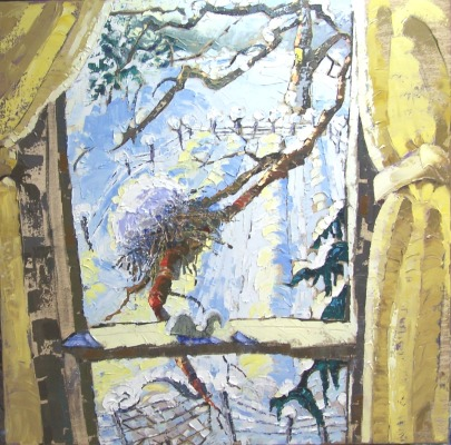 Winter Window, 30x30 in.