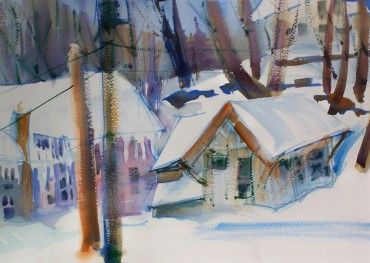 Snow Covered Buildings, 14x10 in.
