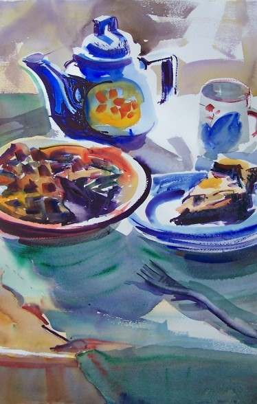 Blueberry Pie with Tea, watercolor, private collection