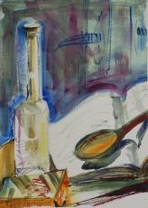 Bottle, Book, Wooden Spoon
