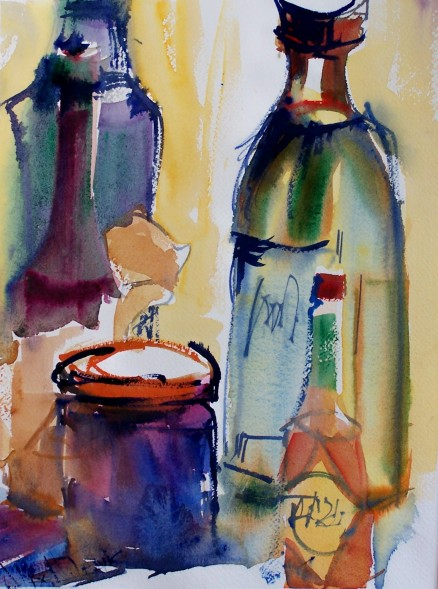 Bottles with Tabasco Sauce, watercolor, 10x14 in.