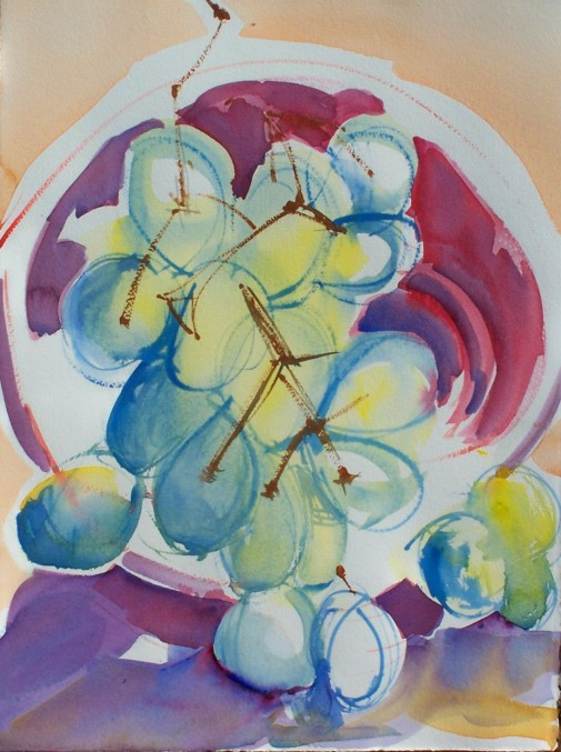 Bowl of Grapes, watercolor, 10x14 in.