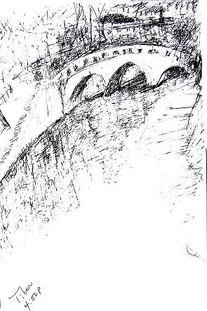Bridge over the Tiber, Rome, 7x10 in.