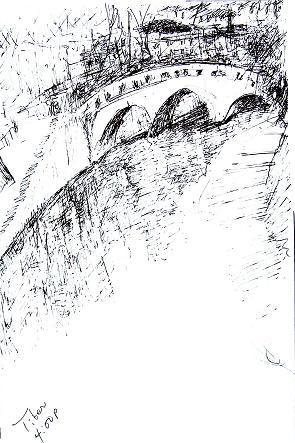 Bridge over the Tiber, Rome, 7x10 in.