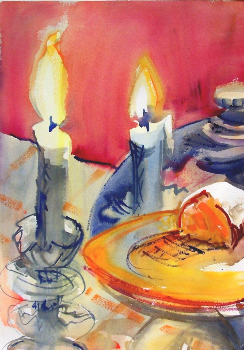 "Cake with Candles, watercolor, 10x14 in., ""Best in Show"", Northeast Watercolor Society"