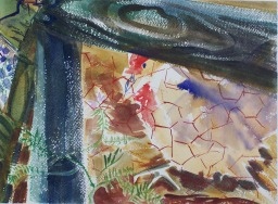 Chickens behind Fence10x14 in.