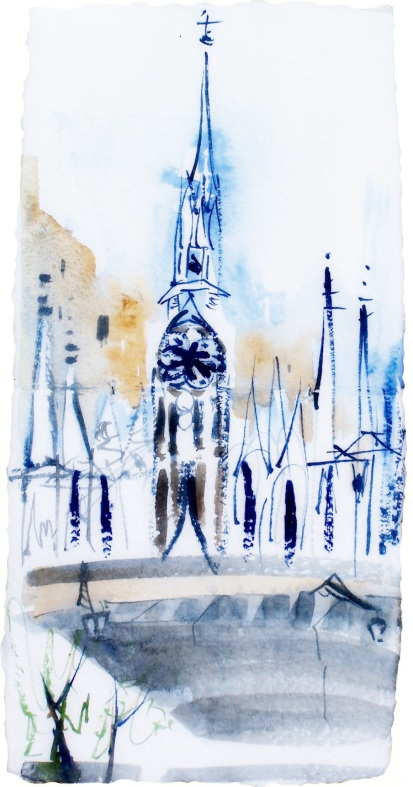 Church across the Tiber, Rome, handmade paper with deckle edges, 8x23""