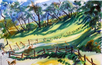 Early Morning Shadows with Deer and Fences, watercolor, 21x14 in.