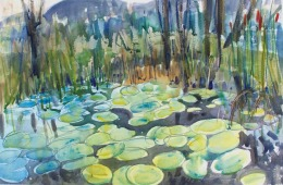 Farm Pond with Lily Pads