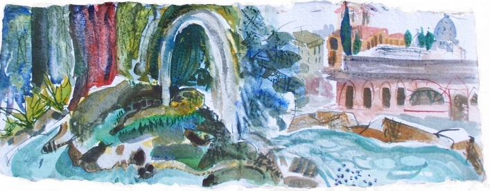 Fountain in Bourgahese Garden, handmade paper with deckle edges, 23x8""