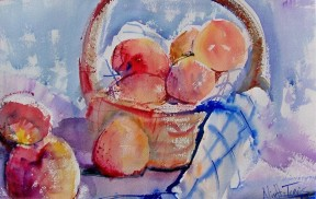 Peaches with Basket, watercolor, 21x14 in.