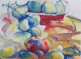 Grapes, Tomato and Red Bowl, watercolor, 10x14 in.