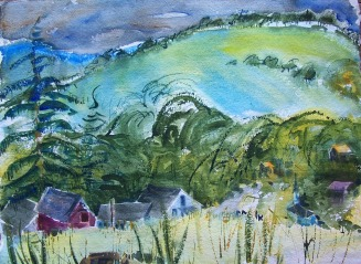 Halcottsville between the Mountains, on handmade paper, 21x14 in.