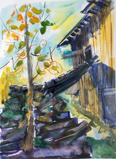 Howie's Barn, 1, watercolor, 10x14 in.