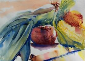 Leeks, Tomato and Corn, watercolor, 14x10 in.