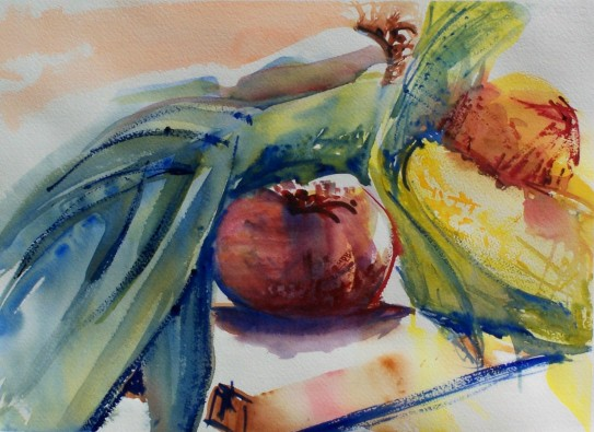Leeks, Tomato and Corn, watercolor, 14x10 in.