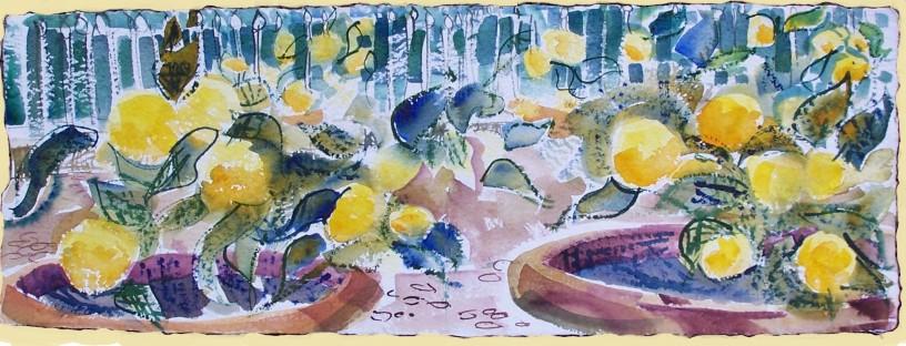 """Lemons in Bourgahese Garden, Rome, handmade paper with declke edges, 23x8"""""""