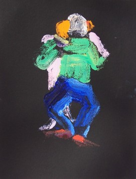 Dancing, Older Couple, monoprint