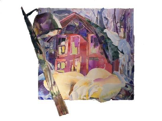Night Illumined by Street Lamp, 24x23.5 in.