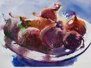 Onions in a Bowl, 2, watercolor, private collection