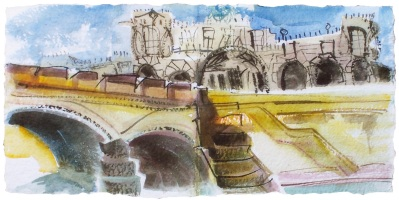 """Palace across the Tiber, Rome, handmade paper with deckle edges, 23x8"""""""