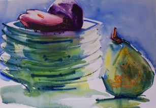 Pears on Green Plates. Watercolor, private collection