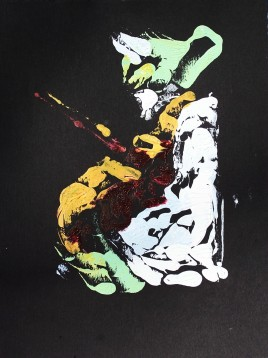 Fiddle Player, monoprint
