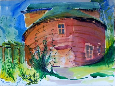 Round Barn, 2, watercolor, 14x10 in.