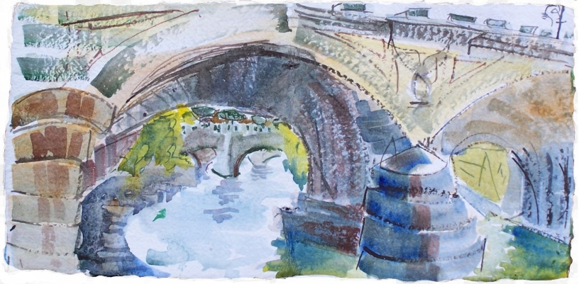 Three Bridges over the Tiber, Rome, handmade paper with deckle edges, 8x8 ""