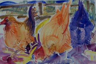 Three Chickens, 10x14 in.