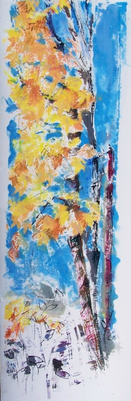 Roadside Tree in Fall, monoprint, gouache