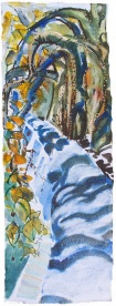 Trees along the Tiber, handmade paper with deckle edges, 8x23""
