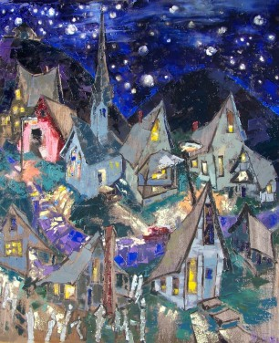 Village at Night, Catskill Mountain Life series. 11, private collection