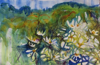 White Daisies Along the Railroad Track, 21x14 in.
