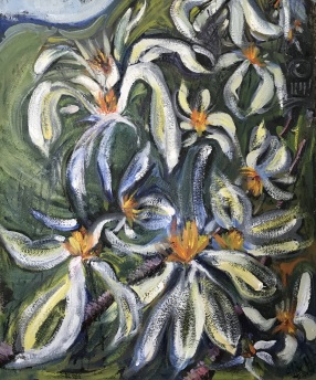 Daisies on the Railroad Track, Oil on 300 lb wc paper, private collection