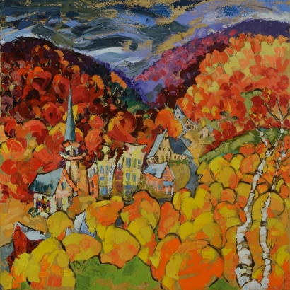 Village in Fall, oil on canvas, 30x30 in.