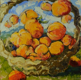 Summer Peaches, oil on canvas, 20x20 in.