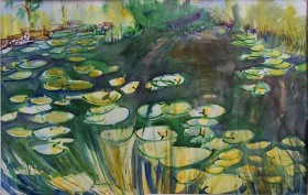 Lilly Pond, 2, watercolor, 21x14 in.