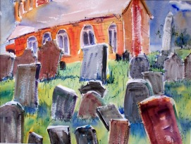 Brick Church, wc on 300 lb paper, 22x31 in.