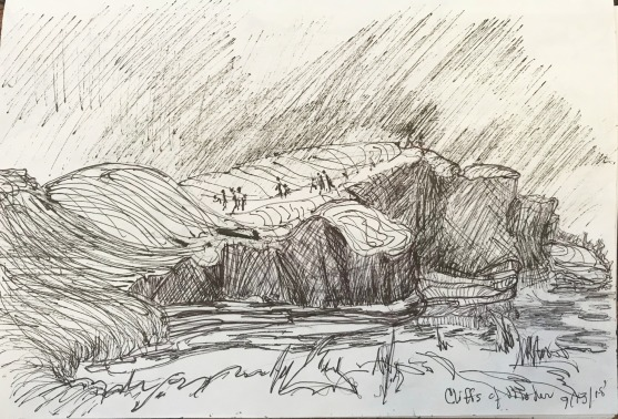 Cliffs of Mohar in the Rain, ink on paper
