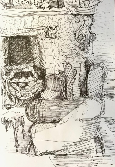 Comfortable Sitting Room in the Inn, ink on paper