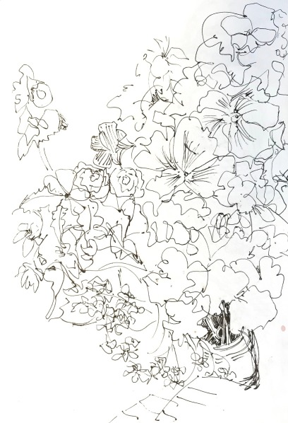 Flowers before Our Inn, Ink on paper