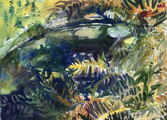 Frog Pond, Clermont State Park, wc, 10x14 in.