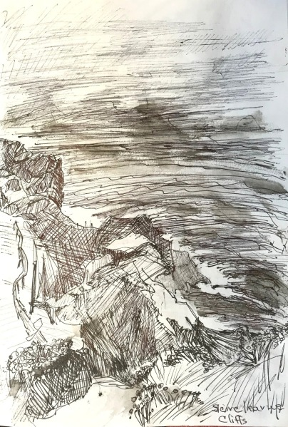 Cliffs on the Atlantic, ink on paper