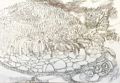 Prehistoric Mound, ink on paper