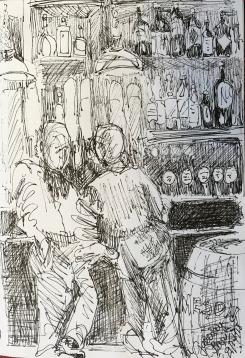 Pub Crawling, ink on paper
