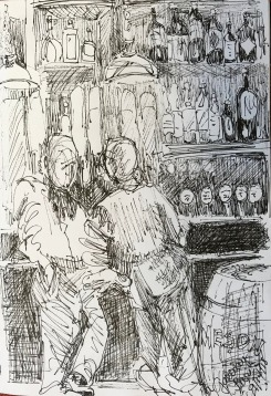 Pub Crawling, ink on paper