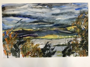 Remnents of the Storm, Hudson River, Bard College,watercolor, 21x14 in.